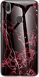 For Vivo Y11 2019 Case, Marble Pattern Tempered Glass Case, Anti-fall Shockproof TPU Protective Bumper Cover Case for Vivo Y11 2019 (Color : WHITE MARBLE)