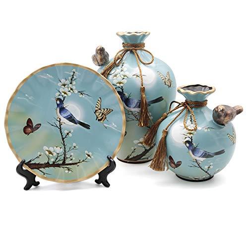 NEWQZ Ceramic Vase Set of 3 for Living Room Decoration, Chinese Classical Vases Set, Blue