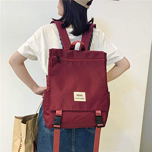 AMNVBD Harajuku Ulzzang Frauen Rucksäcke Korean Style College Schultaschen for Teenager Student Bookbag weiblichen Reiserucksack 2019 (Color : Red)