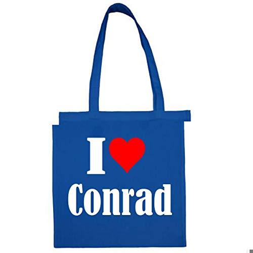 Tasche I Love Conrad Größe 38x42 Farbe Grau Druck Schwarz