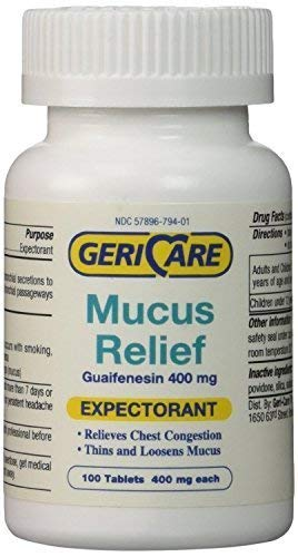 Mucus Relief Tablets by Geri-Care | Expectorant For Chest Congestion Relief | Guaifenesin 400mg | 100 Count Bottle | 2-Pack (Total 200)