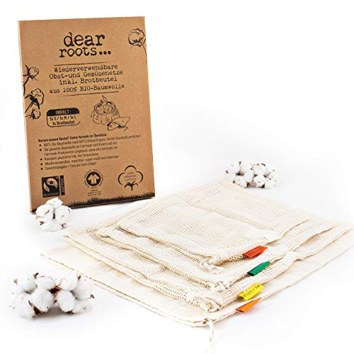 dear roots ® Wiederverwendbare Obst- und Gemüsebeutel | 100{07d8a9ac7f98472294a0e9b7845d6c4dfadebb5786655b0716684f0374ef8e5b} GOTS + Fairtrade Bio Baumwolle | Gemüsenetze für den PLASTIKFREIEN Einkauf INKL. Brotbeutel | Premium Zero Waste Produkte