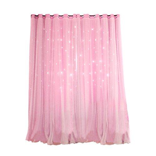 VORCOOL Sterne Vorhänge Blickdicht Gardinen Verdunkelungsvorhänge 2 Schichten Aushöhlen Form mit Ösen Gaze für Mädchen Party Schlafzimmer Deko (Rosa)