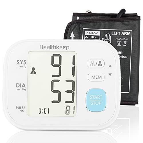 Tensiómetro de Brazo Digital, pantalla de arritmia, Monitor de Presión Arterial Automatico con Gran Pantalla Led, para una medición precisa de la tensión arterial y del pulso con función de memoria