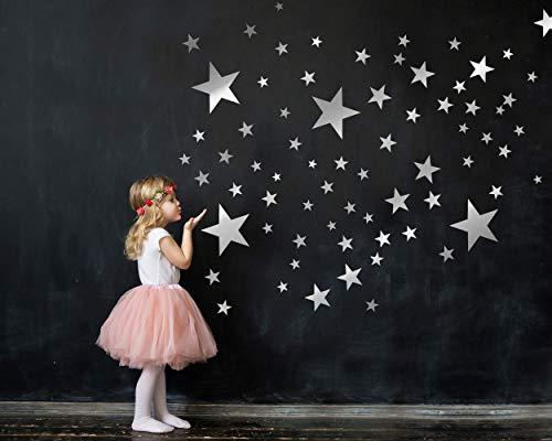 100 Sterne Wandtattoo fürs Kinderzimmer - Wandsticker Set - Pastell Farben, Baby Sternenhimmel zum Kleben Wandaufkleber Sticker Wanddeko - Wandfolie, Kleinkinder, Erstausstattung auf Rauhfaser Silber