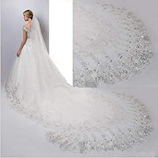 HXSD Wedding veil White Ivory Cathedral Wedding Veils Long Lace Edge Bridal Veil with Comb Wedding Accessories Bride (Color : Ivory, Item Length : 400cm)