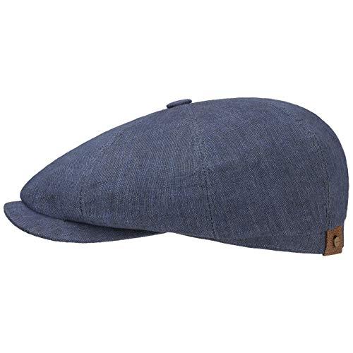 Stetson Hatteras Flatcap Leinen Damen/Herren - Mütze mit Baumwollfutter - Flat Cap mit Sonnenschutz UV 40+ - Schirmmütze Frühjahr/Sommer - Ballonmütze dunkelblau 57 cm