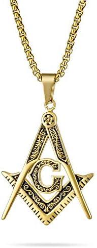 Bling Jewelry Black Oxidized Large Freemason Secret Society Square Compass Masonic Symbol Pendant product image