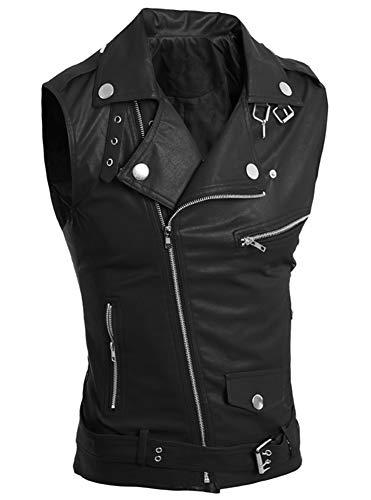 LifeHe Men's PU Leather Punk Zipper Sleeveless Vests Jacket (Black, L)