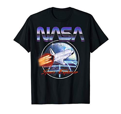 NASA Space Explorer 80\'s Neon Chrome Retro Vintage T-Shirt