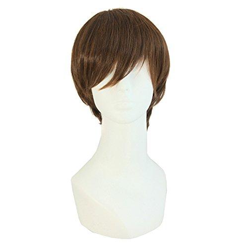 MapofBeauty 25cm/ 10 Pouce Extension capillaire Fashion hommes de droite courte perruque