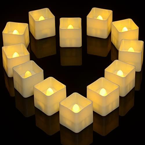 Ymenow - Candele quadrate senza fiamma tremolanti, 12 confezioni da 3,6 cm × 3,6 cm, funzionamento a batteria, luci LED per decorazione da tavolo per la casa, colore: bianco caldo
