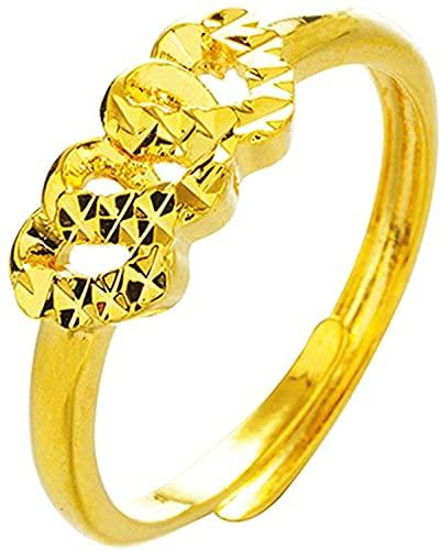 Simple 24K Color Oro Anillo de Mujer Compromiso Anillos de Boda de Oro Ajustable Delicado Dedo Joyería de Mujer, DTTX001