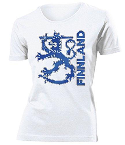 Finnland Suomi Finland Fanshirt Fussball Fußball Trikot Look Jersey Damen Frauen t Shirt Tshirt t-Shirt Fan Fanartikel Outfit Bekleidung Oberteil Hemd Artikel