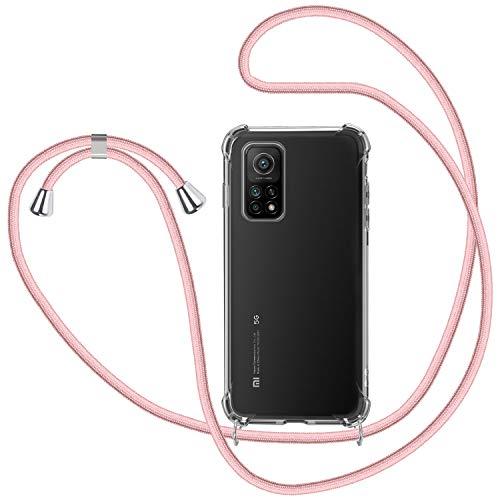SAMCASE Funda con Cuerda para Xiaomi Mi 10T 5G/ 10T Pro 5G, Carcasa Transparente TPU Suave Silicona Case con Correa Colgante Ajustable Collar Correa de Cuello Cadena Cordón - Oro Rosa