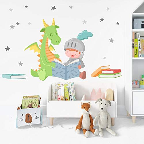 Dragón y caballero leyendo - Vinilos colegios y bibliotecas - T1 - Pequeño