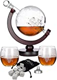Atterstone Globe Whiskey Decanter Set - 850-ml Liquor Decanter Gift Set with Globe Glasses, 9 Whiskey Stones, and Stainless Steel Funnel