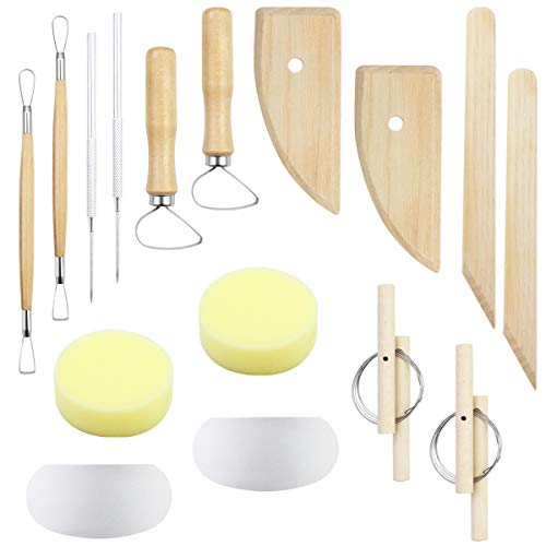 SKPPC 2 Sets Pottery Polymer Clay Tools Kit,The Most Essential Wooden Clay Sculpting Carving Modeling Tools,Ceramic Tools for Clay,Pottery,Modeling,Smoothing,16 Pieces