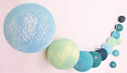 CREATIVECOTTON Guirlande Lumineuse, Boules de Coton avec Mode Timer et Mode Veilleuse (Brise de Mer, 20 boules)