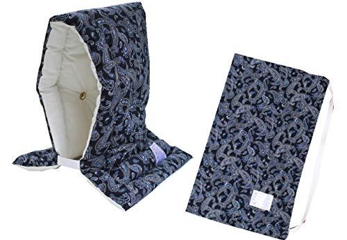 防災ずきん専用カバー付 日本製(小学生から大人まで)Lサイズ 防災クッション(約30×46cm) (ペイズリー(ブルー))