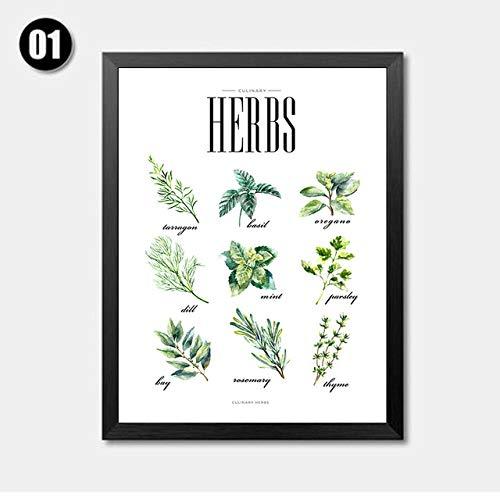 wszhh Nordic Minimalistischen Kräutern Gemüse Leinwand Kunst Malerei Hd Print Home...