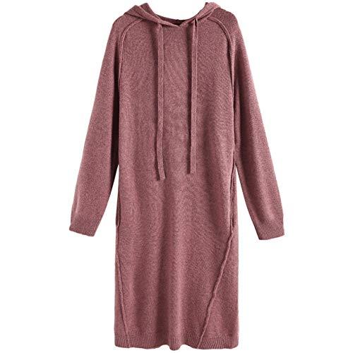 BINGQZ Gebreide jurk vrouwelijke herfst nieuw temperament lange lange mouw met capuchon trui rok winter bottoming rok