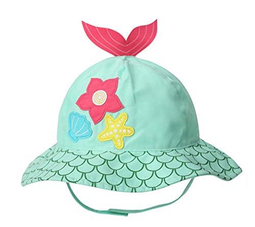 Baby Kids Cartoon Summer Sun Hat UV Protection Beach Bucket Hat W/Chin Strap Starfish 1-2T
