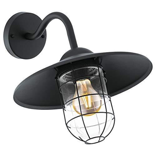EGLO Außen-Wandlampe Melgoa, 1 flammige Außenleuchte, Wandleuchte aus verzinktem Stahl und Glas, Farbe: Schwarz, Fassung: E27, IP44
