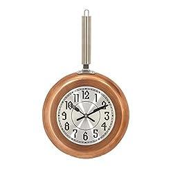 Deco 79 98438 Round Iron Wall Clock, 17 x 10, Copper/Silver/Black