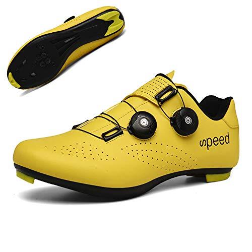 Fei Mei Bicicleta De Carretera Zapatillas De Ciclismo, Zapatillas De Bicicleta Transpirables Autoblocantes con Tacos SPD Hombre Zapatillas De Ciclismo Spinning