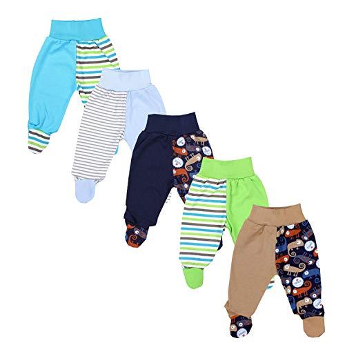 TupTam Baby Unisex Hose mit Fuß Bunte 5er Pack, Farbe: Junge, Größe: 86