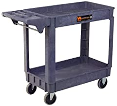 Two 30 in. by 16 in. by 4 in. shelves hold up to 500 pounds of evenly distributed weight Avoid rust, chips, and dents with an easy-to-clean surface for simple maintenance 5-inch non-marring casters provide effortless and smooth mobility without scuff...