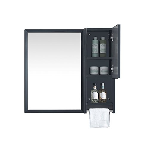 JZ väggspegel rostfritt stål-badrum-spegel-svart-väggfäst spegel med hylla sidoskåp (färg: B)