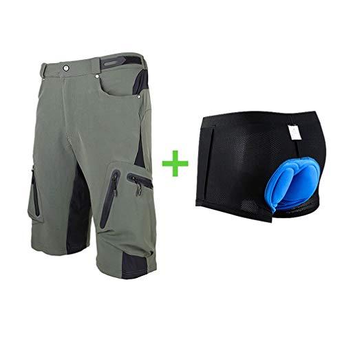 foveitaa - Pantaloni da ciclismo da uomo, impermeabili, per mountain bike, corti, per sport all'aria aperta, da ciclismo, Uomo, #04 verde con pad, XXL
