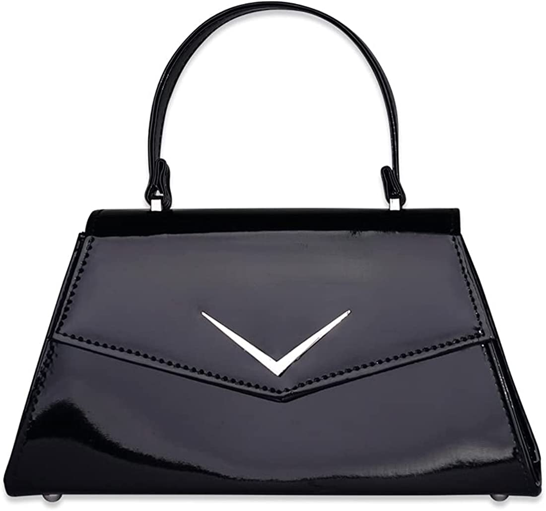 Liquorbrand Retro Chevron Top Handle Handbag Purse Rumbler Bag - With Shoulder Strap - Women's 50s Vintage Inspired