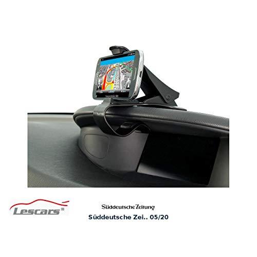 Lescars Navi Halterung: Universelle Smartphone-Clip-Halterung fürs Armaturenbrett, bis 9 cm (Handy Autohalterung)