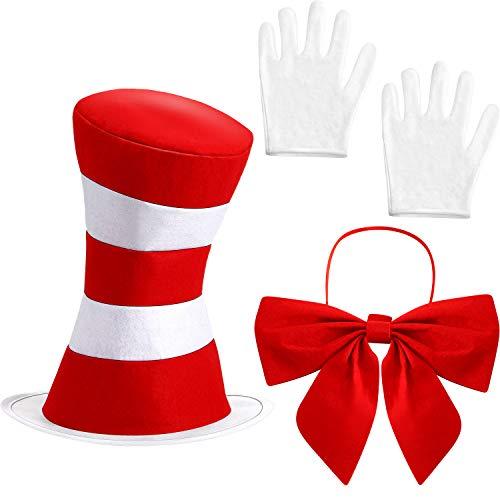SATINIOR Zylinder Kostüm Rot Weißer Hut Fliege Weiße Handschuhe Fancy Halloween Kostüm Zubehör