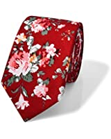 Kaidvll Skinny Ties Cotton Floral Printed Slim Men's Cotton Printed Floral Necktie (M 09)