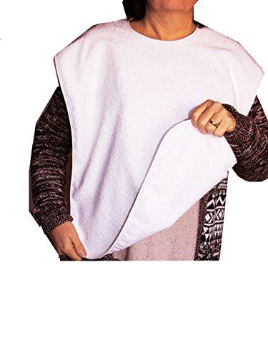 Ti-Tín -3er Pack- Lätzchen für Erwachsene, 50x60 cm | Frottee Latz mit Bindeverschluss, Material: 90% Baumwolle, 10% Polyester, Farbe: weiß