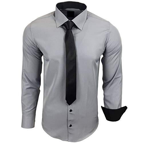 Baxboy 444-BK Herren Kontrast Hemd Business Hemden mit Krawatte Hochzeit Freizeit Fit, Größe:2XL, Farbe:Grau
