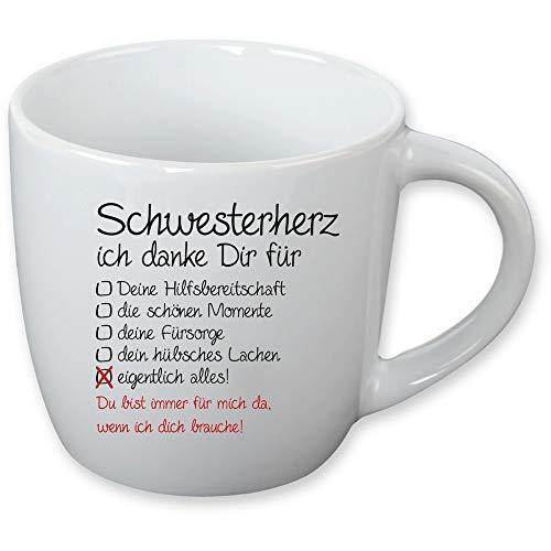 Tasse Schwesterherz - Bruderherz als liebevolles Mitbringsel - Geschenk für Schwester - Geschenk für Bruder Farbe Schwesterherz