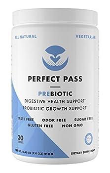 Perfect Pass Prebiotic PHGG Partially Hydrolyzed Guar Gum 210g Powder - 100% Natural Gluten Free Non GMO - Certified Kosher Vegetarian Sugar Free