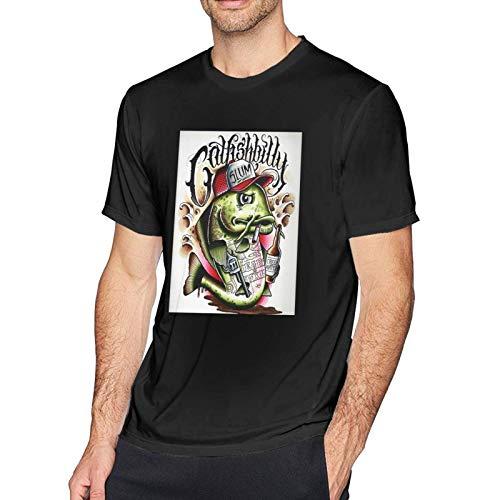 Camiseta de Manga Corta para Hombre Yela-Wolf Top Casual clásico con Cuello Redondo