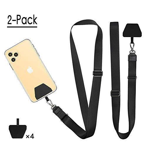 Doormoon Phone Lanyard, Universal Adjustable Neck Straps for Phone Case Keys ID Badges Compatible with iPhone, Samsung, Motorola, LG & Most Smartphones, 2 Pack,Black Black