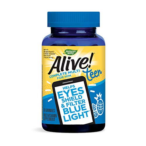 Nature's Way Alive! Teen Gummy Multivitamin for Him, Filters Blue Light, Fruit Punch Flavor