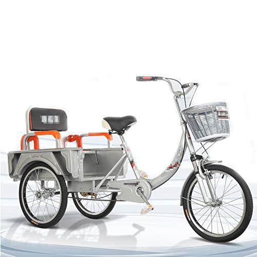 TWW Triciclos para Personas Mayores, Bicicletas Pequeñas De Pedal, Bicicletas para Adultos, Scooters Eléctricos Plegables, Ocio para Personas De Mediana Edad Y Ancianos, Scooters,Gris