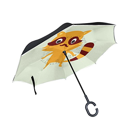 My Daily Double Layer Inverted Umbrella Cars Reverse Umbrella Worlds Best PAPA Cute Raccoon Windproof UV Proof Travel Outdoor Umbrella