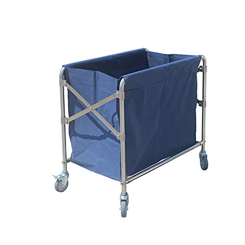 Salon Trolleys Rechteck Wäschebehälter auf Rädern, Abnehmbares Kommerzielles Rollen Wäschesortierwagen für Waschküche Hotel, Blau