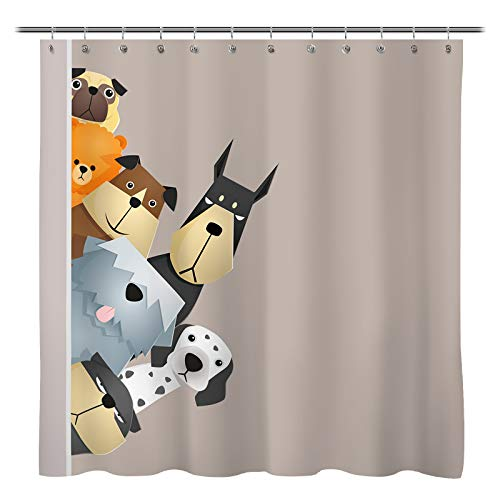 Dogs Looking Over Curtain