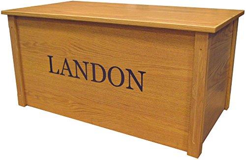 Wood Toy Box, Large Oak Toy Chest, Personalized Georgia Font, Custom Options (Cedar Base)